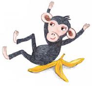 Šimpanz na slupce od banánu