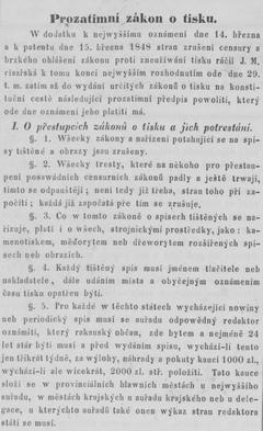 Text prozatimního tiskového zákona z roku 1848