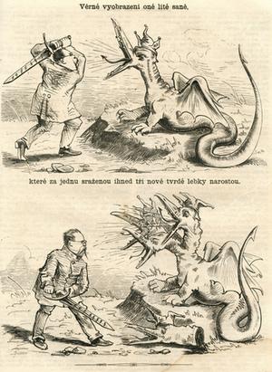 Úředník mečem s paragrafy stíná hlavu sani Humoristických listů, aby jí místo ní vyrostly tři hlavy Biče, Blesku a Rolniček.